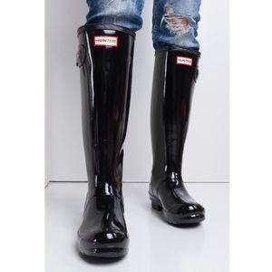 Hunter Original Tall Gloss Wellington Rain Boots 9 Black
